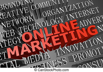 Online marketing word cloud - 3D rendered word cloud of...
