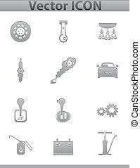 Vector car set icons. auto service square