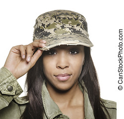 Attractive African American Army woman
