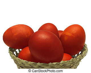 Red Easter egg - several chicken Easter eggs dyed a natural...