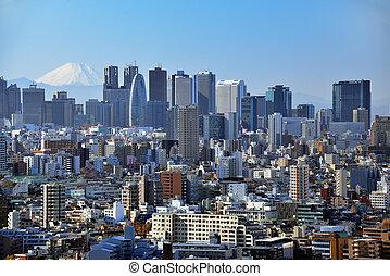 Tokyo and Fuji - Skyscrapers in the Shinjuku Ward of Tokyo...