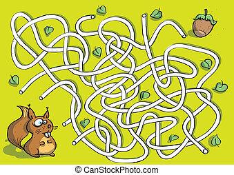 Squirrel Maze Game for children. Hand drawn illustration in...
