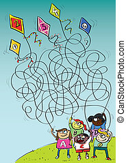 Children Playing with Kites Maze Game - Children Playing...