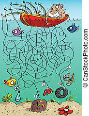 Fisherman Maze Game for children. Hand drawn illustration in...