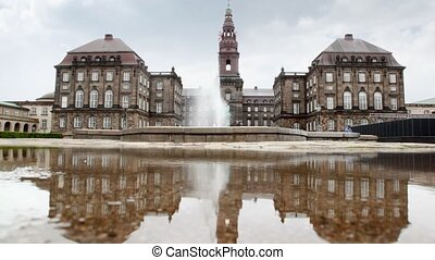 Christiansborg Slot - Denmark castle in 1167 from gray...
