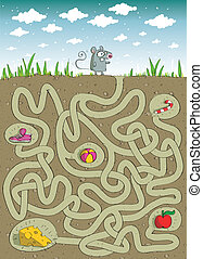 Mouse and Cheese Maze Game for children. Hand drawn...