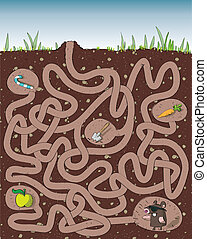 Mole and Molehill Maze Game for children Hand drawn...