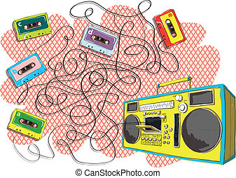 Tapes and Boom-box Maze Game for children. Hand drawn...