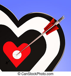 Heart Target Shows Love Romance And Feeling