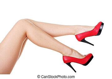 élevé, femme, chaussures, talon, jambe