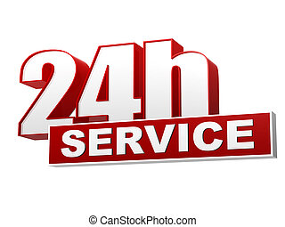 24h service red white banner - letters and block - text 24h...