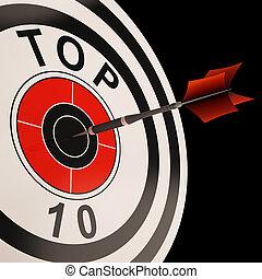 alvo, dez, topo, selecionado, resultado, melhor, mostra