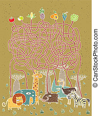 Animals and Food Maze Game for children Illustration is in...