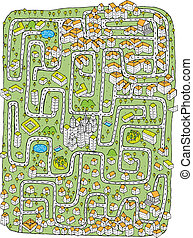 Urban Landscape Maze Game. Task: Find the right road to down...