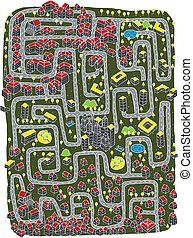 Urban Landscape Maze Game for children. Illustration is in...