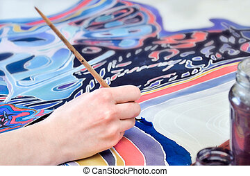 Hand painting on fabric, a fragment of batik painting