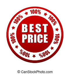 100 percentages best price 3d red circle label - 100...