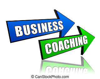 business coaching in arrows - business coaching - text in 3d...