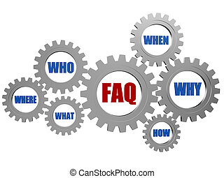 faq and question words in gearwheels - red faq and blue...