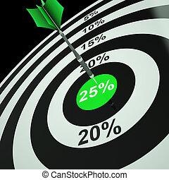 25 Percent On Dartboard Showing Twenty-Five Percent Off