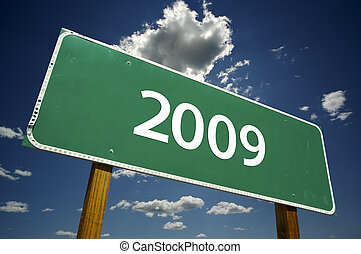 2009 Road Sign with Dramatic Clouds - 2009 Road Sign with...