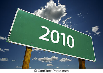 2010 Road Sign with Dramatic Clouds - 2010 Road Sign with...