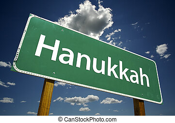 Hanukkah Road Sign with Dramatic Clouds - Hanukkah Road Sign...