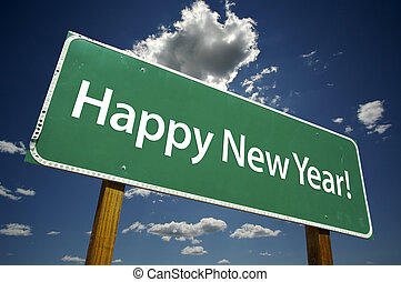 Happy New Year Road Sign with Dramatic Clouds
