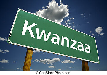 Kwanzaa Road Sign with Dramatic Clouds - Kwanzaa Road Sign...