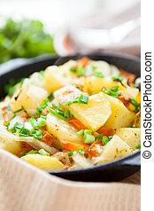 batatas, cebolas, ASSADO, verde, panela