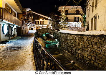 Illuminated Street of Megeve in French Alps, France -...