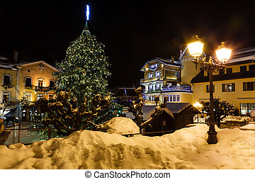 Illuminated Central Square of Megeve on Christmas Eve,...