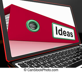 Ideas File On Laptop Showing Concepts