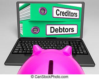 Acreedores, y, deudores, archivos, en, computador portatil,...
