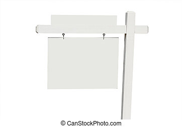 Blank Real Estate Sign Isolated on a White Background