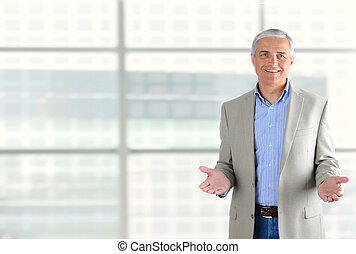 Businessman Gesturing with Both Hands - Closeup of a smiling...
