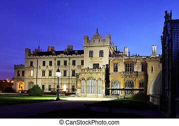 Romantic castle in Lednice - night view