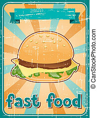 Fast food background with hamburger in retro style