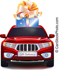 Gift on car isolated on white background - Blue gift with...