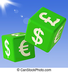 Currencies Dice Flying Showing Money Exchange And...