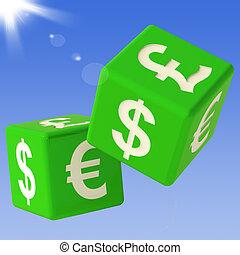moedas correntes, dados, voando, mostrando, Mone
