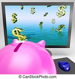 Dollar Symbols Drowning On Monitor Showing Financial Disaster