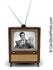 50s TV commercial - 1950s television with a newscaster...