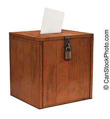 Ballot Box - An envelope going in the slot of a ballot box