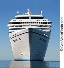 cruise ship bow - water level view of cruise ship facing the...