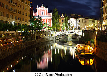Ljubljana at night, with the Triple Bridge Slovenia