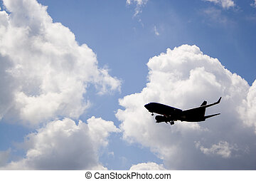 Airplane Silhouette - A silhouette of a commercial passenger...