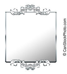 Silver Faux Mirrored Affect Frame - Ornate faux mirrored...