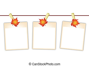 Blank Photos with Maple Leaves Hanging on Clothesline