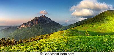 Rocky peak at sunset